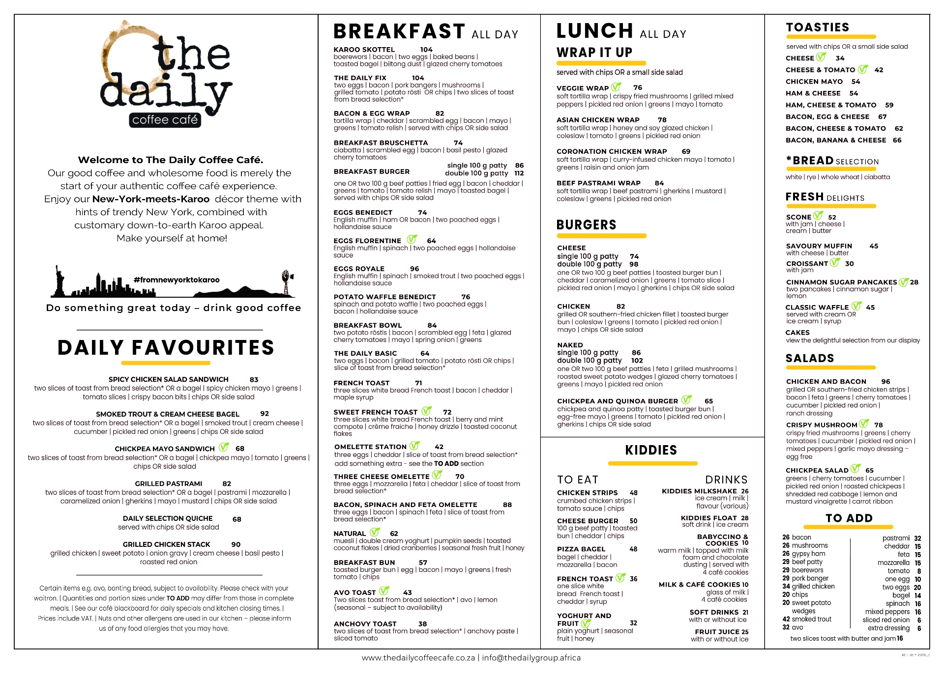 The Daily Menus The Daily Coffee Cafe